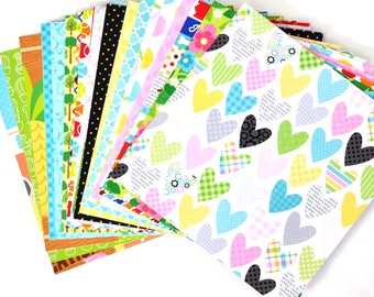 33 Doodlebug Double Sided Cardstock Paper Sample Pack -- Kittens, Dogs, Pawprints, Hearts, Flowers, Polka Dots, Dog Bones and More