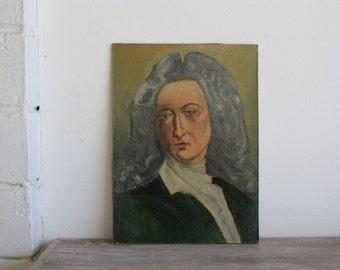 Vintage French School Portrait Painting // 50s // Lancret
