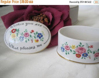 Staffordshire Jewelry Box - Bone China England - Inside Mirror - Painted Flowers