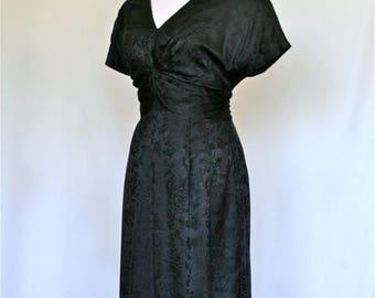 20% OFF SALE 90's Vintage Dress, Silk Black Dress, Designer Oleg Cassini