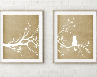 Cat Tree Prints Set of Two - Khaki Tan Gold Brown
