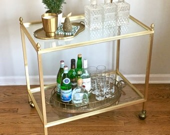 Vintage Gold Bar Cart Pineapple Finials Rolling Cocktail Drink Cart  *CHICAGO Delivery ONLY*