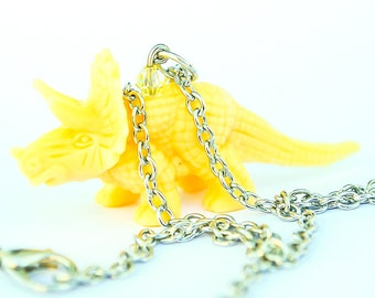 Triceratops Dinosaur Necklace Yellow with Swarovski elements