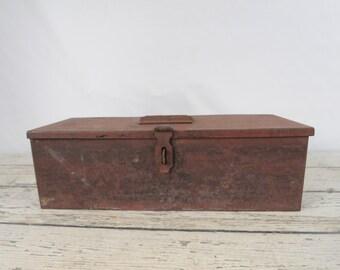 Metal Box Tool Box With Tray Vintage Metal Tool Box Vintage Metal Storage Box