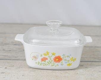 Vintage Corning Ware WILDFLOWER 1.5Qt Casserole Orange/Yellow Floral Pyrex Lid