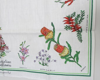 Vintage Tea Towel Australian Wildflowers Designed by Heil