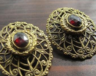 SALE Vintage Garnet and Brass Filigree Earrings Clip On