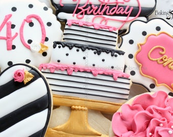 Kate Spade BirthdayInspired Cookies, Birthday Cookies, 40th Birthday, 30th Birthday, Flower Cookies, Cake Cookies, Pink Black White Cookies