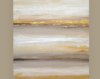 "Large Abstract Art Acrylic Painting Original Earthtones Titled: River Rock 4 30x40x1.5"" by Ora Birenbaum"