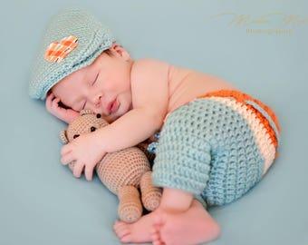 Newborn Hat and Long Shorts - Newsboy Hat - Jarrett Set - Photo Prop - Newborn Boy Photo Prop