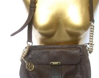 Donna Karan DKNY Embossed Brown Leather Shoulder Bag