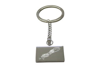 Silver Toned Etched Swimming Octopus Keychain