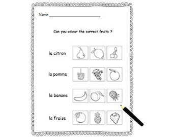 FRENCH NUMBERS WORKSHEETCounting & Colouring ActivityFrench