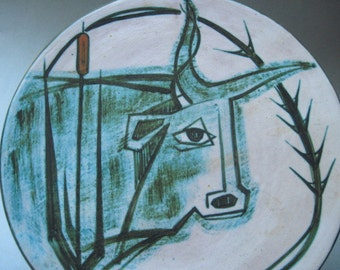 Vintage Signed Artisan Pottery Wall Hanging with Bull