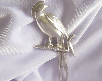 """Large Sterling Bird Brooch.  Crested Bird Perched on Branch.  Contoured with Detailed Feather Definition.  Nearly 2-3/4"""" H x 1-3/8"""" W."""