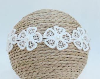 White Newborn Headband / Tieback / Halo / Embroidered Flowers and Pearls / Photo Prop