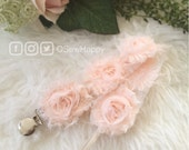 BLUSH PINK Rossette Rose Pacifier Clip / Newborn Baby Girl Gift/ Post Baby Shower Gift/ Binkie/ First Birthday Soothie/ Paci/ Sophie Clip