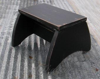 Footstool Primitive Folk Art Step Stool Farmhouse Decor Custom Finish Ebony Black Paint Wood Step Stool & Wood step stool | Etsy islam-shia.org