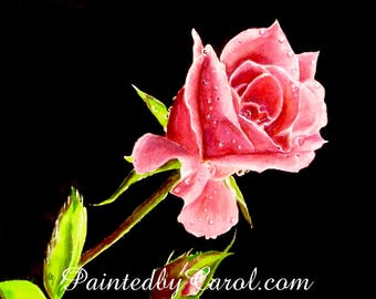 Pink Rosebud Original Watercolor Painting, Rose Painting, Rose Watercolor, Watercolor Rose, Rose Original Art, Rose Art, Rose Home Decor