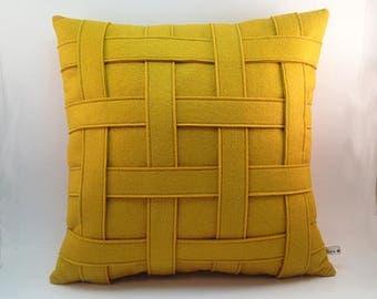 Mustard Yellow Pillow, Yellow Felt Pillow, Basket Weave Texture, Criss Cross Pattern, Modern Pillow