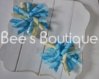 blue and khaki korker bow set