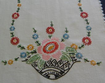 """Vintage White Dresser Scarf, 13"""" X 39"""" hand embroidered with hand crocheted lace edging flower baskets  shabby chic"""