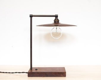 TH Desk Lamp Walnut and Blackened Brass LED Light