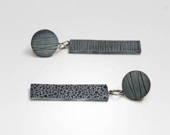 black drop earrings, long earrings,  mismatched earrings, silver post earrings, modern earrings, asymmetrical  earrings, gift for girlfriend