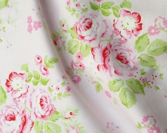 Rose Fabric Cottage Chic Rambling Cotton By The Yard Tanya Whelan
