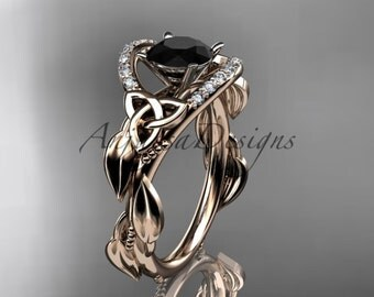 14kt rose gold diamond celtic trinity knot wedding ring, engagement ring with a Black Diamond center stone CT7326