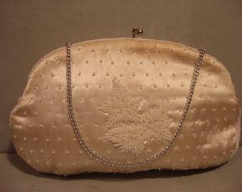 Vintage Beige White Pearl Beaded Clutch Handbag