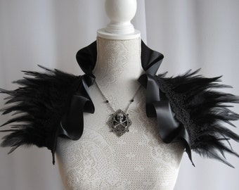 DOUBLE AMOUNT of feathers, Satin Feather Stole Wrap Shrug Capelet Collar Shoulder Piece Black Gothic Burlesque Bohemian Halloween Witch