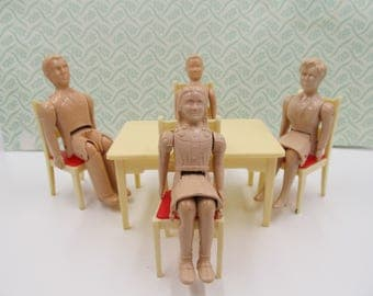 Vintage Renwal Family of Dolls with Red Kitchen Chairs and Renwal Kitchen Table, Renwal No. 41 Sister, No. 42 Brother,No. 43 Mom, No. 44 Dad