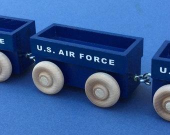 Wooden Toy Train Gondola Car for U S Air Force. USAF toy