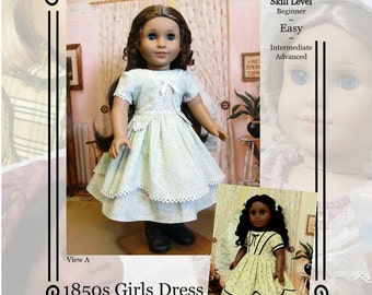 "PDF Pattern KDD01 ""1850s Girl's Dress""- An Original KeepersDollyDuds Design, makes 18"" Doll Clothes"