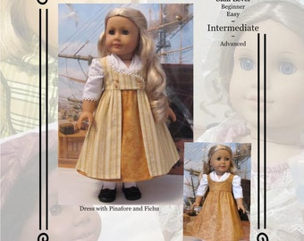 "PDF Pattern KDD15 ""Regency Pinafore Dress""-An Original KeepersDollyDuds Design, makes 18"" doll Clothes"