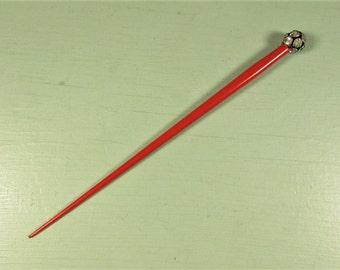 Hair Pick Holder - Vintage Bun Stick Red Celluloid Rhinestone