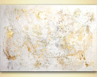 """Large Gold White abstract art textured painting Wall Decor 60""""x40"""" heavy textured abstract painting by Osnat"""