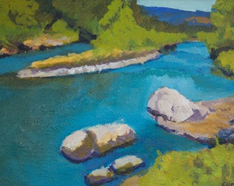 Summer on Willamette River at Greenwaters Park Oakridge Oregon Original Painting