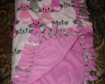 Pink Kitten Double Sided Fleece Blanket, no sew tied blankets, infant baby toddler, cats tabbys feline, baby shower gifts, girls gift, tabby