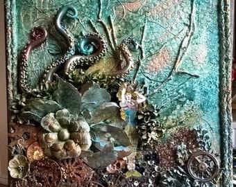 Assemblage canvas, ,nautical art,mermaids,cogs,skull steampunk art, mixed media, canvas