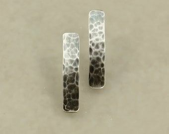 Hammered Aged Silver Bar Earrings, Sterling Silver Earrings, Post Earrings, Hammered Silver Earrings, Sterling Bar Earrings, Rustic Earrings