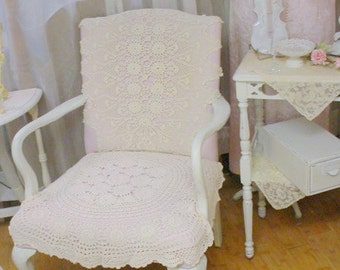 Lace WingBack Chair Upholstered Arm Chair Painted White Distressed Shabby Chic French Cottage Country OOAK