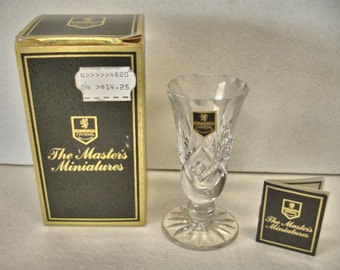 """Elegant Edinburgh Crystal """"The Masters Miniature"""" Vase With Box Tag And Sticker Mint In Box Made in Scotland"""
