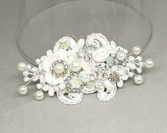 Bridal Hair Comb- Pearl Hair comb- Wedding Hair Accessories- Small Bridal Hairpiece- Bridal Hair Accessories-Fascinator-Brass Boheme-Lovely