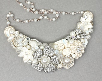 Bridal Statement Necklace- Rhinestone Bridal Bib- Vintage-Inspired Necklace-Pearl Statement Necklace-Bridal Bib Necklace-Rhinestone Necklace