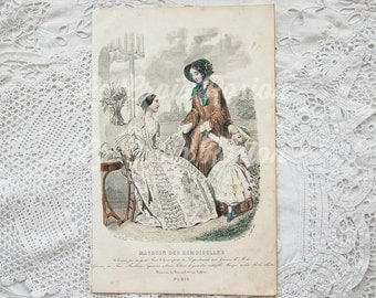 Antique French fashion plate, antique engraving, vintage book plate, fashion illustration, hand tinted, hand colored, ORIGINAL 1800s, No. 4