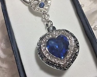 Sapphire Blue pave heart double Stainless Steel Cremation Urn Locket Necklace Pendant with chain and funnel Ash Memorial