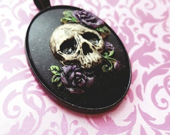 Purple Rose Skull Cameo Goth Steam punk Necklace with Chain