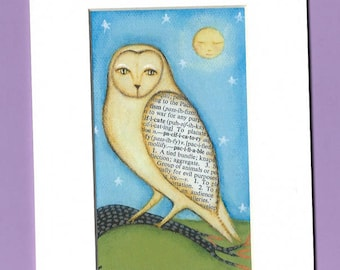 owl reproduction in white  Mat by lisa arkus free shipping